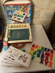 Vintage Fisher Price School Days Play Desk With Accessories From 1970and039s + Cards