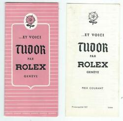 1957 Rolex Watch Pamphlet Brochure Price List Here You Are Tudor By Rolex Geneve