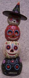 Figurine Day Of The Dead Dia De Muertos Stacked Pumpkins New With Gift Box