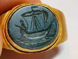Roman Christian Ring With Intaglio -saint Peter The Fishermen 2nd,4th Century Ad