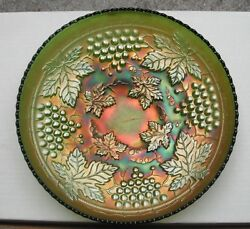Grape + Cable 10.5 Bowl--pretty Green--d.agc..vintage Northwood Carnival Glass