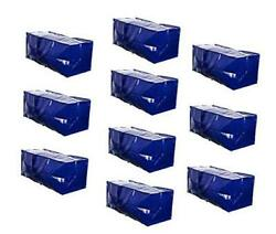 Heavy Duty Extra Large Moving Bags W/ Backpack Straps Strong Blue - Set Of 10