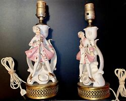 2 Antique Vintage Porcelain Table Lamps with Figurine of Girl Pink White