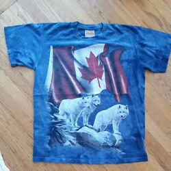 Vintage Canadian Wolf Flag The Mountain Hand Dyed Tie Dye Us T Shirt Extra Large
