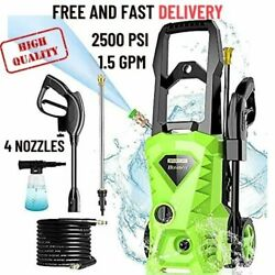 Electric Pressure Washer, 2500 Psi 1.5 Gpm Power Washer, 1800 W High Green, Usa