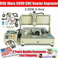 2.2kw Usb 4axis 6090 Cnc Router Engraver Vfd Milling Carving Machine +controller