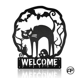 Black Cat Personalized Halloween Metal Sign Family Signhalloween Wall Hangings