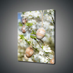 Beautiful Beige Easter Eggs Tree Spring Box Canvas Print Wall Art Picture Decor