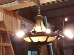 Gorgeous 1920s Large Antique Bronze And Curved Stained Glass Chandelier