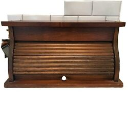Vintage Brown Wood Kitchen Counter Roll Up Front Bread Box Keeper W/white Knob