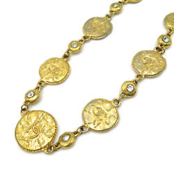 Necklace Collier Pendant Medals Gold Plated Rhinestones Used Coco
