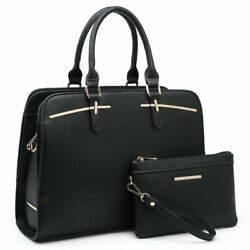 Dasein Womens Elegant Faux Leather Handbags Satchel Bags Purse and Wallet $44.99