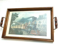 Vintage The Express Train Picture Under Glass Wooden Serving Tray Dual Handles