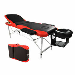 Portable Fold Massage Table Facial Spa Bed Tattoo W/free Carry Case Black And Red