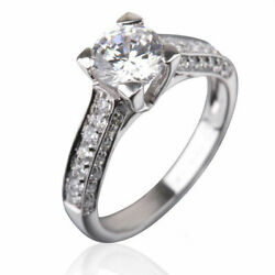 Round 1 3/4 Carat Diamond Ring With Accents 18k White Gold Anniversary Jewellery