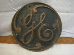 Vintage Ge Solid Brass 7 Industrial Machine Badge General Electric Co Sign
