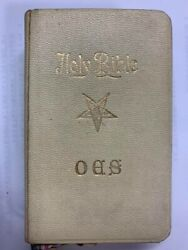 Holy Bible Masonic Freemason Bible From France Off- White Leather Cover Used