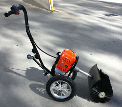 Walk Behind 52cc Gas Power Broom Snow Artificial Grass Sweeper Cleaner