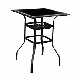 Patio Bar Height Outdoor Table Bistro Square Outside High Top With 2-tier