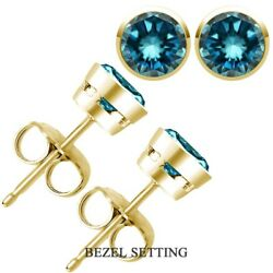 2 Carat Real Natural Blue Diamond Bezel Solitaire Stud Earrings 14k Yellow Gold