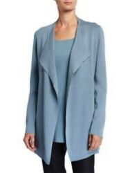 456.00 Nwt 2 Pc Eileen Fisher S Jacket And Xs Tank Set Blue Steel Beautiful Set