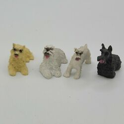 4 Vintage Miniature Dogs Figurines Schnauzer fluffy dog doll house accessories