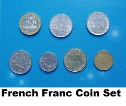 Set 7 French Franc Coins 1963 To 1997 - 1/2 1 10 - 20 10 Centimes France Job Lot