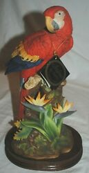 Andrea By Sadek Bird Figurine, Scarlet Macaw 6811, With Tag With Wood Base Read
