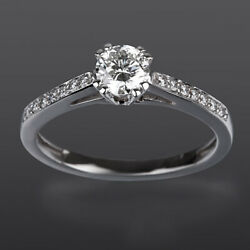 14 Kt White Gold 1.1 Ct Diamond Solitaire + Side Stones Ring Size 5 6 7 8 Si2