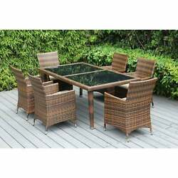 Ohana Outdoor Mixed Brown 7-piece Cushioned Wicker Dining