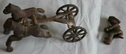 Real Antique Cast Iron Horse Drawn Fire Truck Engine Toy W/firemen Missing Wagon