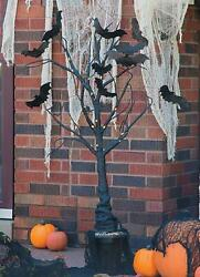 Flashing White Lights Potted Black Tree Glittery Bats Halloween Home Decor 57quot;H