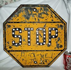 Antique Yellow Steel Glass Marbles Usa Industrial Home Business Street Stop Sign