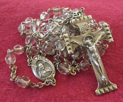 Antique Catholic Religious Medal - Crystal And Sterling Rosaries / Rosary Beads