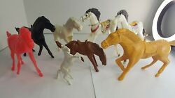 Lot Of 8 Vintage Plastic Toy Horses Tim Mee Marx Mpc Multicolor