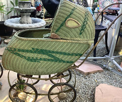 Antique Vintage Wicker/metal Baby Doll Buggy Stroller And Antique Dolls