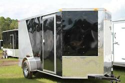 New 2022 6x12 6 X 12 V-nosed Enclosed Cargo Motorcycle Trailer Ramp And Side Door