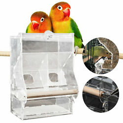 Auto Food Feeder Clear Acrylic Cage For Parrot Bird W/double Hopper Usa