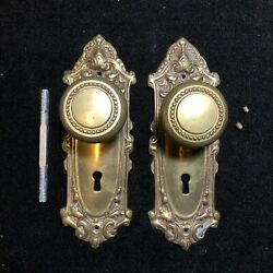 Solid Brass Door Knobs And Ornate Face Plates With Skeleton Key Hole