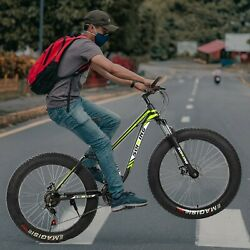 Fat Tire Mens Mountain Bike,17 Inch / Medium High-tensile Frame Green And Red