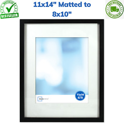 Black Poster amp; Picture Frame 11x14 in Matted to Fit 8x10 in Wall Decor Display