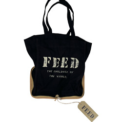 Feed Packable Zip Tote Bag Black Cotton Canvas Burlap Base Interior Pockets NEW $35.00