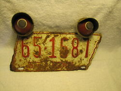 1955 Tennessee Original License Plate Tag Macon County With Topper Lights