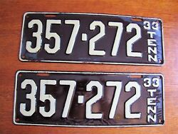 1933 Tennessee Original License Plate Tag Set New Old Stock