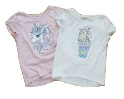 Unicorn girls lot of two tops S 5 6 The Childrens place sequins pink white $9.99