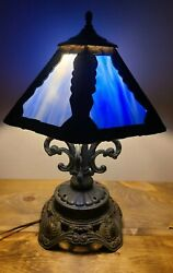 1970s Ef And Ef Industries Brass Lamp With Blue Slag Glass Shade