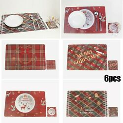 Christmas Decor Cup Coasters Placemats Dining Table Decor Pvc Set Of 6 Hot New