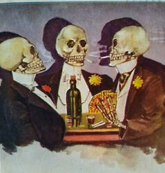 Antique Halloween Postcard Skeletons Playing Cards In Tuxedos 1906 Salem Ohio
