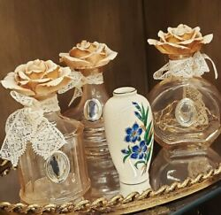Vintage Old Art Perfume Bottles With Gold Tray