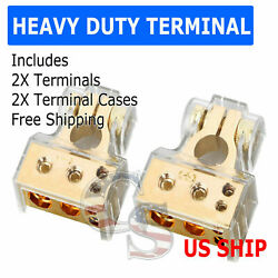 Cased Gold 1 1/0 2 4 8 Gauge Awg Car Battery Terminal Positive And Negative Set